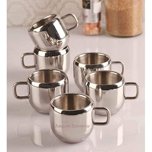 Amacom enterprise Stainless Steel Apple Tea And Coffee Cup - 6 Pieces, Silver, 100 ml