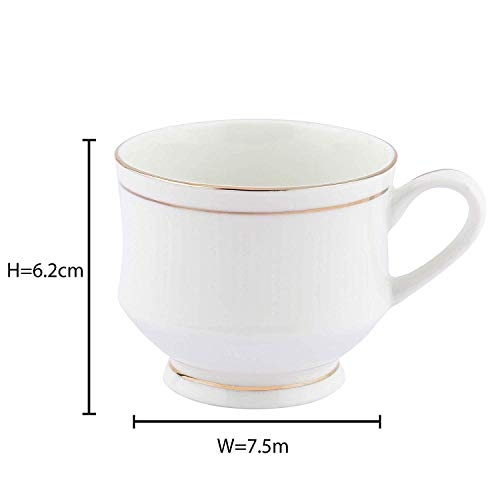 Pearl GoldenLine Fine Tableware Bone China Tea Cups Set of 6 | Coffee Mugs for Home Office -(140 ml)