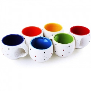 OCEAN FASHION AND STYLE Pack of 6 Ceramic Ceramic Solid Multi with Dot Printed White Tea Cup/Coffee Cup Set with Handle set of 6(Multicolor)