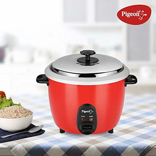 Pigeon by Stovekraft Joy 1.8L Double Pot Unlimited SDX 220V / 50Hz AC 700-Watt Electric Rice Cooker (Red)