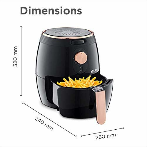 Koryo 2.6L Air Fryer, 1350W, Multiple Cooking Attachments: (Silicon Cup Cake Moulds, Silicon Brush, Pizza Pan, Cake Barrel and Recipe Book) Temperature Control,