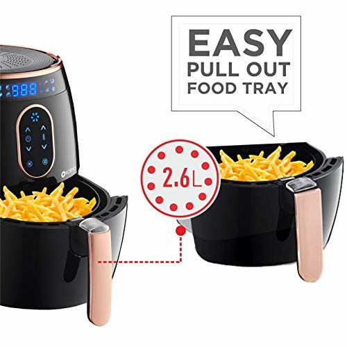 Koryo 2.6L Air Fryer with Digital Display, 1350W, Touch Control, Multiple Cooking Attachments: Silicon Cup Cake Moulds, Silicon Brush, Pizza Pan, Cake Barrel