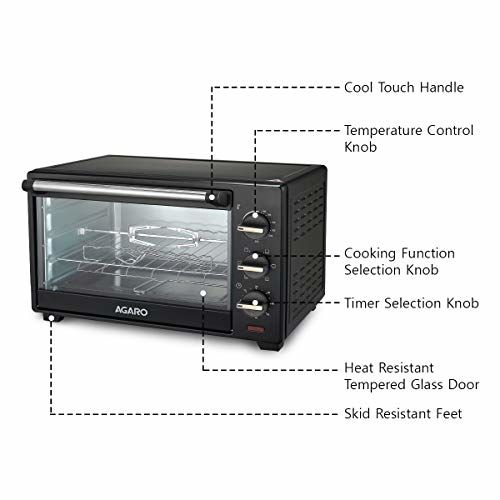 AGARO Majestic 25-Litre Oven Toaster Grill with Motorized Rotisserie & 5 Heating Modes (Black)