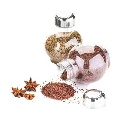 Qromos 360 Degree Revolving Round Shape Transparent Spice Rack, 250 ml Plastic Grocery Container,1 Piece Spice Set(Plastic)