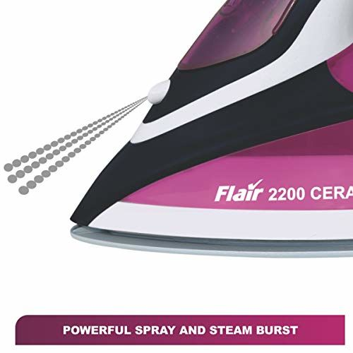 Inalsa Flair 2200 W Steam Iron, Vertical Steaming, Anti-Calcium System, Ceramic Non-Stick Soleplate, Self-Cleaning, Anti-Drip, Rapid Heating, Purple/White