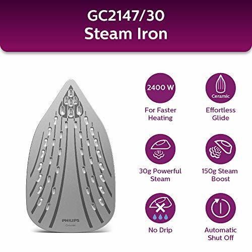 Philips EasySpeed Plus Steam Iron GC2147/30-2400W, Quick Heat up with up to 30 g/min steam, 150g steam Boost, Scratch Resistant Ceramic Soleplate, Vertical