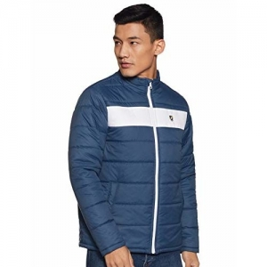 Amazon Brand - House & Shields Blue Polyester Solid High Neck Quilted Jacket