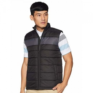 Amazon Brand - Symbol Black Synthetic Solid Sleeveless Quilted Jacket