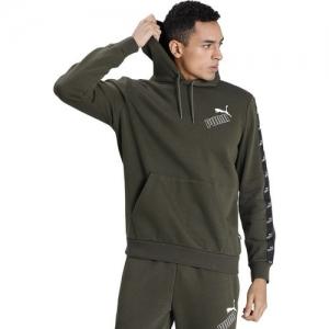 Puma Olive Cotton Solid Full Sleeve Hooded Sweatshirt