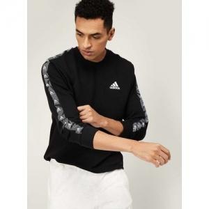 ADIDAS Black Cotton Solid Essentials Tape Sweatshirt