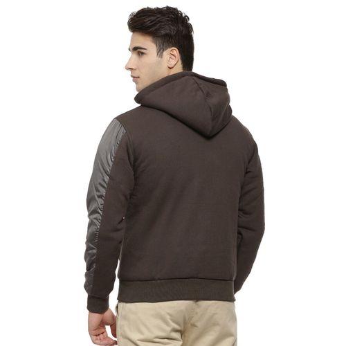 Campus Sutra Brown Cotton Solid Full Sleeve Sweatshirt