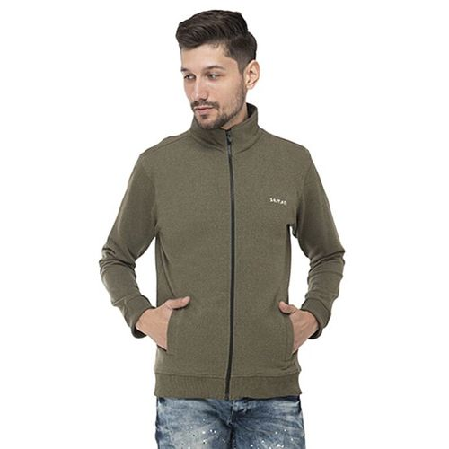 Seven By M S Dhoni Olive Cotton Solid High Neck Sweatshirt