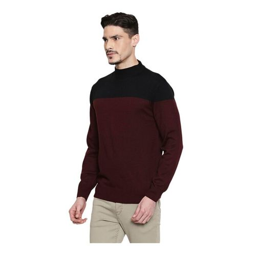 Mufti Black & Maroon Acrylic Colour Block Slim Fit Sweater