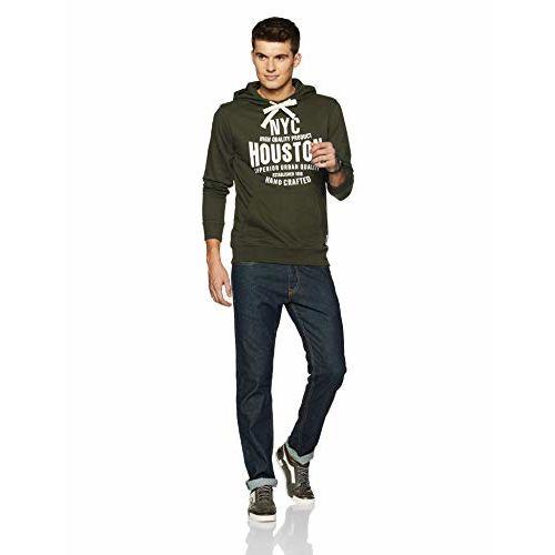 Amazon Brand - Symbol Olive Cotton Printed Hooded Sweatshirt
