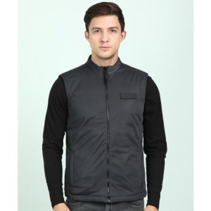 Lee Black Polyester Solid Sleeveless Jacket
