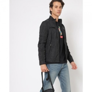 The Indian Garage Co Black Polyester Solid Slim Fit Bomber Jacket