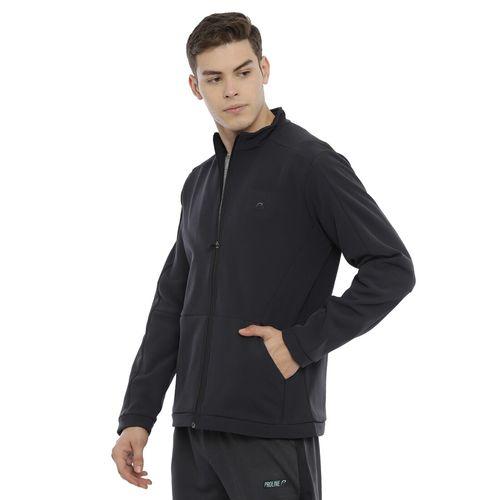 PROLINE Black Polyester Solid High Neck Casual Jacket