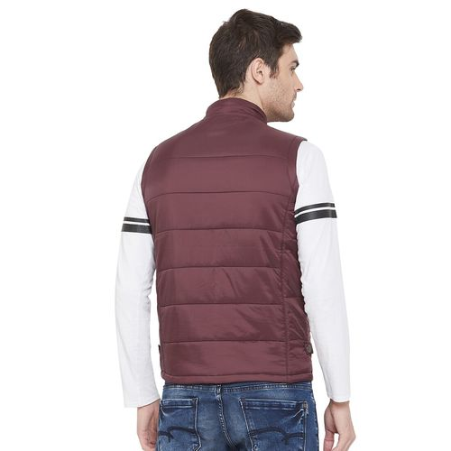 CRIMSOUNE CLUB Maroon Nylon Solid Sleeveless Quilted Jacket