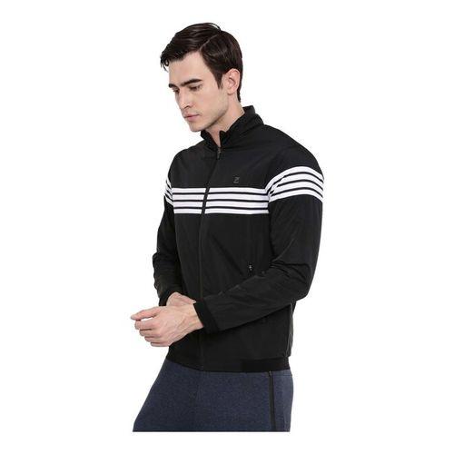 Proline Black Polyester Striped Regular Fit Jacket