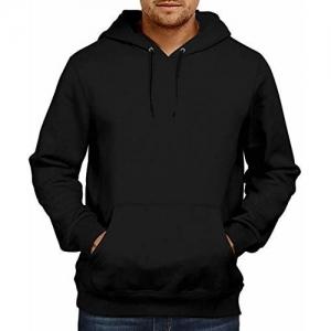 WearIndia Black Cotton Solid Regular fit Hoodie
