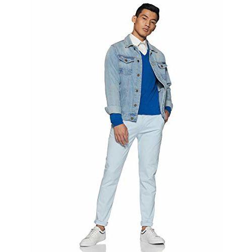 Marks & Spencer Blue Acrylic Solid V-Neck Cardigan