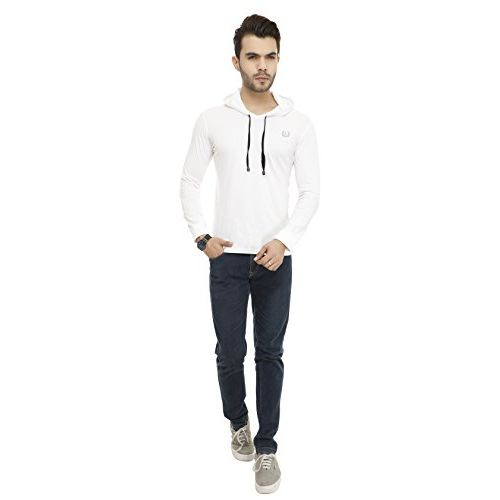 Lee White Cotton Solid Long Sleeve Sweatshirt