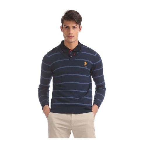 U.S. Polo Assn. Navy Melange Striped Sweater