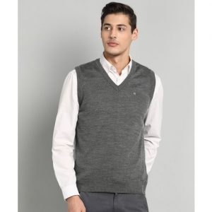 Raymond Solid V Neck Casual Men Grey Sweater