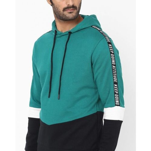 AJIO Colourblock Slim Fit Hooded Sweatshirt with Contrast Taping