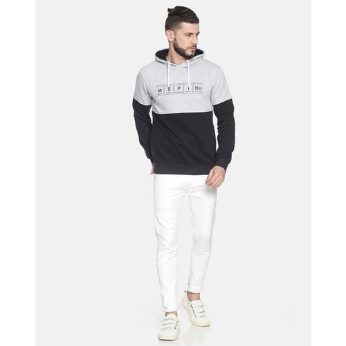 Campus Sutra Typographic Print Hooded Sweatshirt with Ribbed Hems