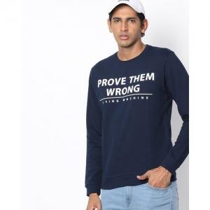 FLYING MACHINE Typographic Print Crew-Neck Sweatshirt