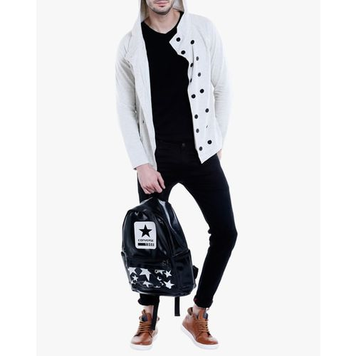 Campus Sutra Hooded Jacket with Double-Button Placket