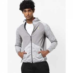 Campus Sutra Stone-Wash Heathered Zip-Front Hooded Jacket