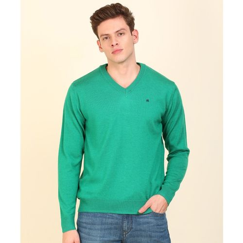 Raymond Solid V Neck Casual Men Green Sweater
