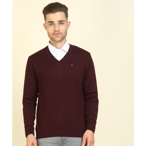 Raymond Solid V Neck Casual Men Maroon Sweater
