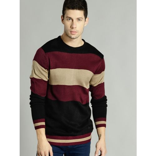 Roadster Striped Round Neck Casual Men Maroon Sweater