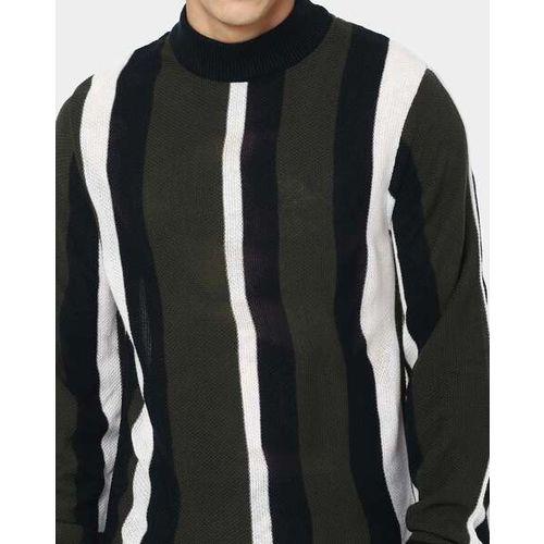 AJIO Striped Slim Fit High-Neck Pullover