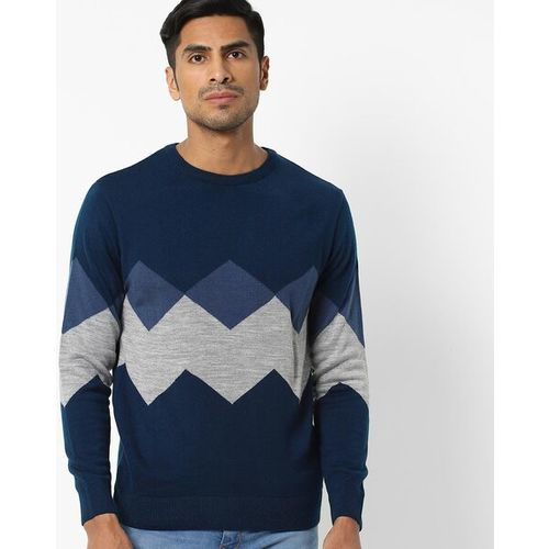 NETPLAY Argyle Knit Pullover with Ribbed Hems