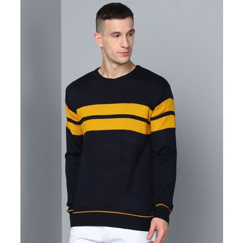 Metronaut Striped Round Neck Casual Men Dark Blue Sweater