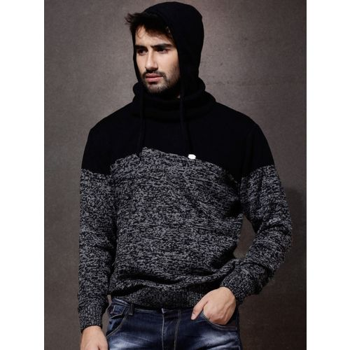 Roadster Self Design Turtle Neck Casual  Black Sweatshirt