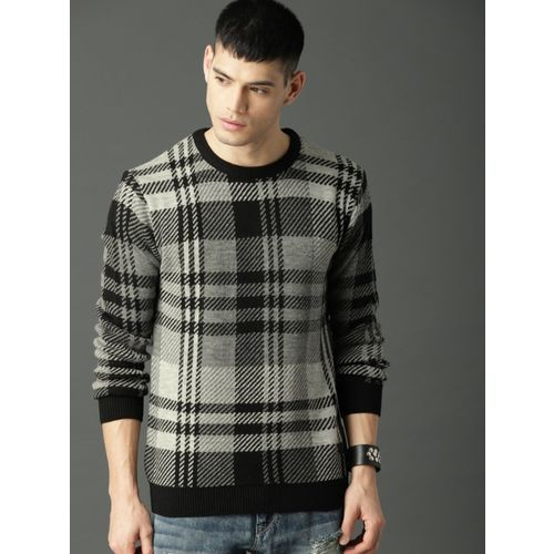 Roadster Checkered Round Neck Casual Men Grey Sweater