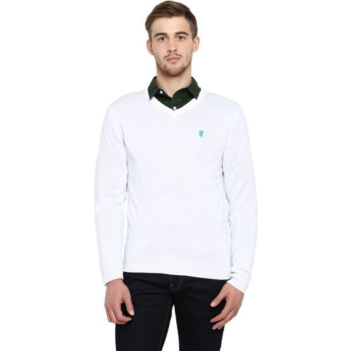 Red Tape Solid Casual Men White Sweater