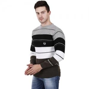 PANV Self Design Round Neck Casual Men Multicolor Sweater