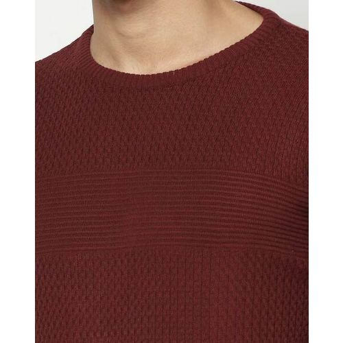 BLACKBERRYS Textured Slim Fit Crew-Neck Pullover with Ribbed Hems