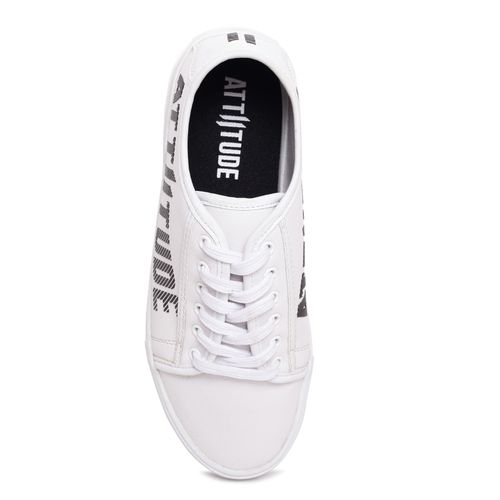 ATTIITUDE white synthetic lace up sneakers