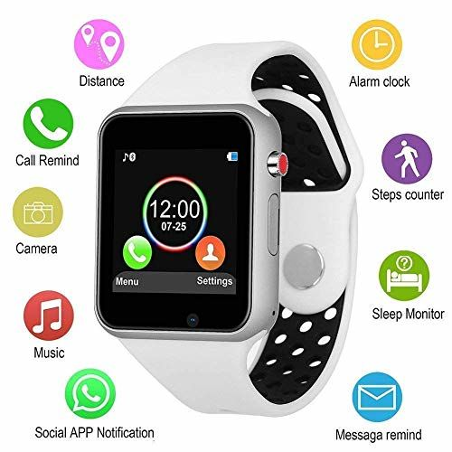 B M C Smart Watch A1 Bluetooth Smartwatch Android Smartwatch with Camera/SIM Card Slot Sports Watch Compatible with All Mobile Phones for Men (A1, White)