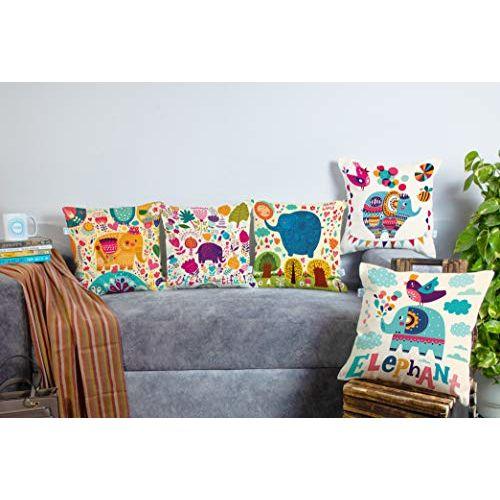 STITCHNEST Unique Cute Elephant Cartoon Blue Printed Canvas Cotton Cushion Covers, Set of 5 (16 x 16 Inches)