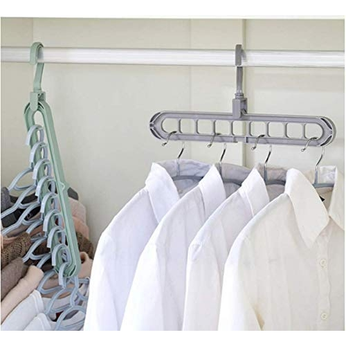 SAUM Wardrobe Space Saver Storage organizer Hangers, Hangers for clothes wardrobe, Anti-Skid Plastic Magic Clothes Hanger rack | Pack of 3 | Assorted colour
