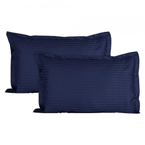 HUESLAND by Ahmedabad Cotton Sateen Striped 220TC Cotton Standard 2 Pillow Covers - Navy Blue