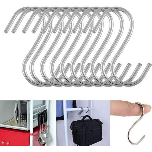 PRODUCTMINE Stainless Steel Thick S Shape Heavy Duty Type S Hook Hanger Hooks Organizer For Hanging Accessories 3 Inch